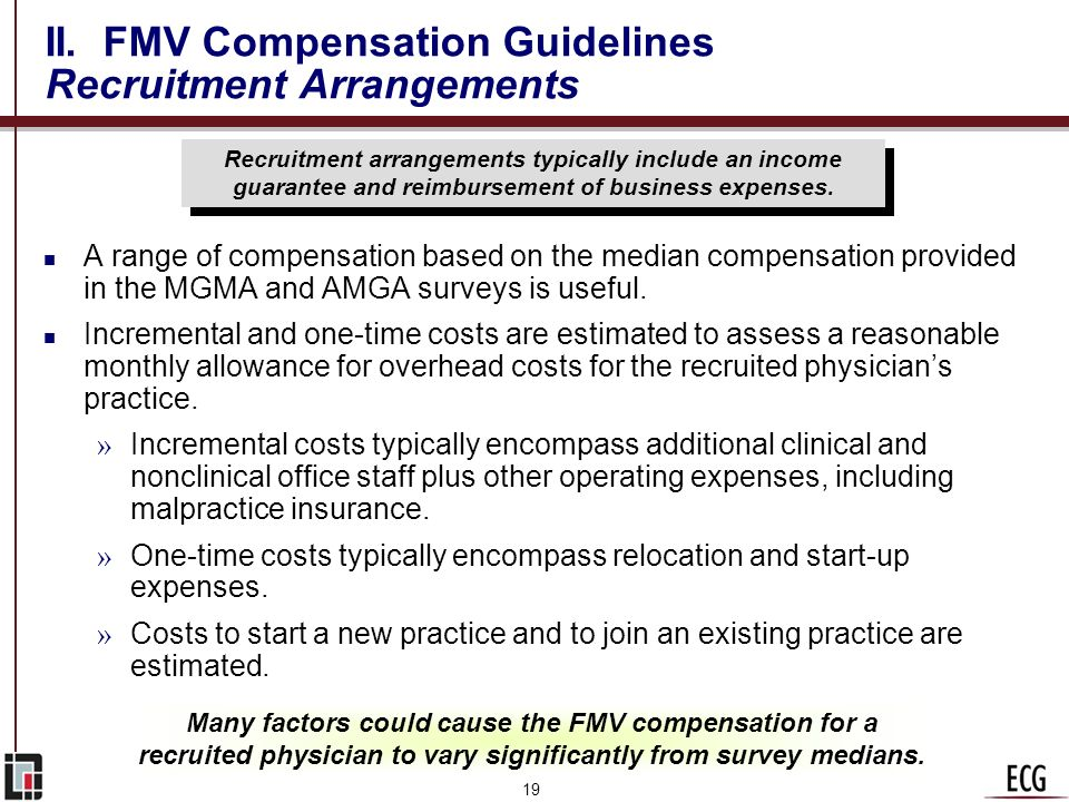 II. FMV Compensation Guidelines Recruitment Arrangements