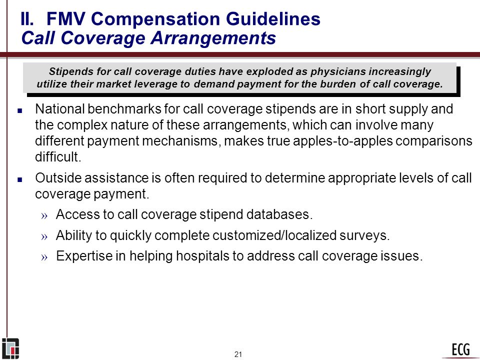 II. FMV Compensation Guidelines Call Coverage Arrangements
