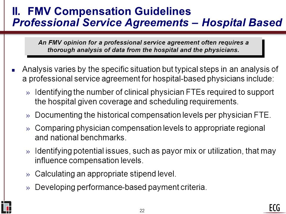 II. FMV Compensation Guidelines Professional Service Agreements – Hospital Based