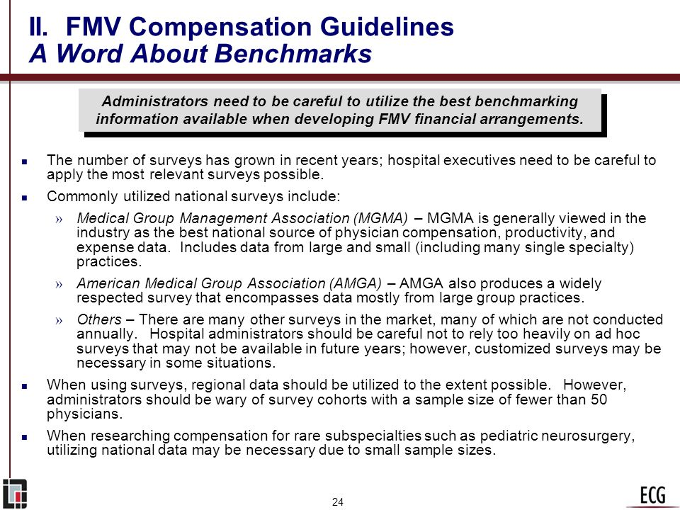 II. FMV Compensation Guidelines A Word About Benchmarks