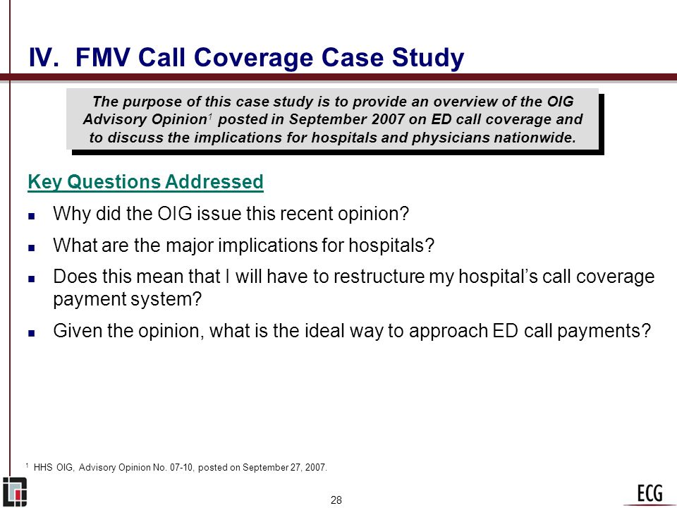 IV. FMV Call Coverage Case Study