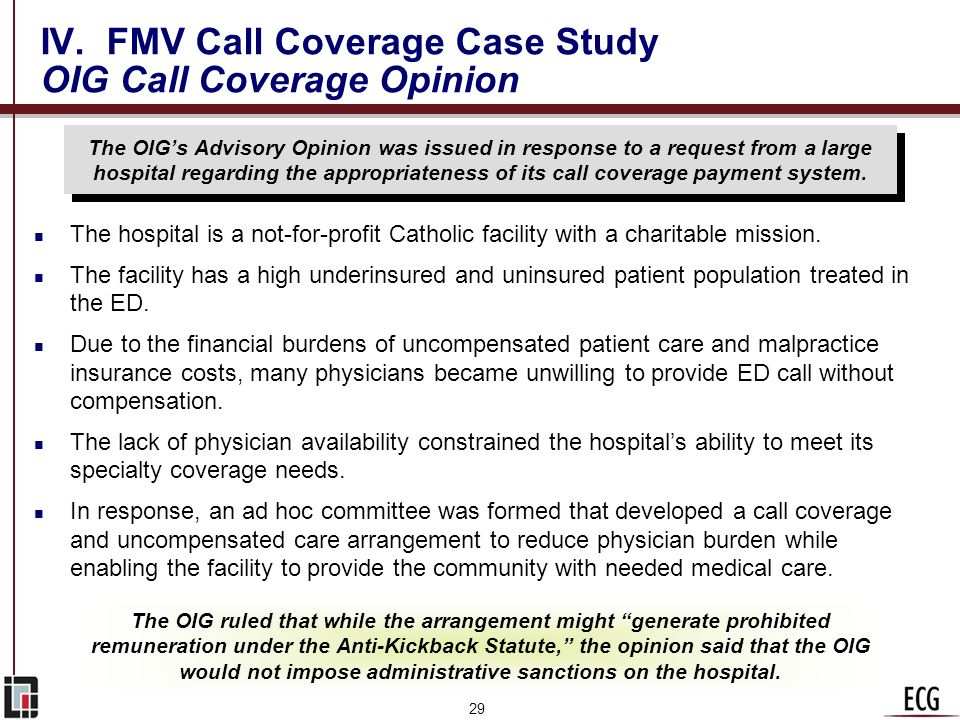 IV. FMV Call Coverage Case Study OIG Call Coverage Opinion