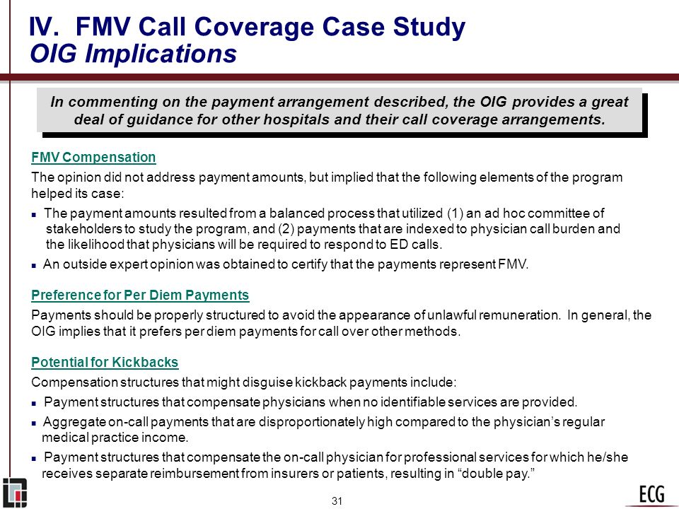 IV. FMV Call Coverage Case Study OIG Implications
