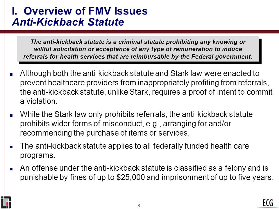 I. Overview of FMV Issues Anti-Kickback Statute
