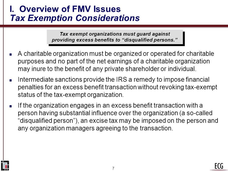 I. Overview of FMV Issues Tax Exemption Considerations