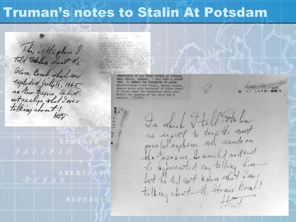 Truman's notes to Stalin At Potsdam