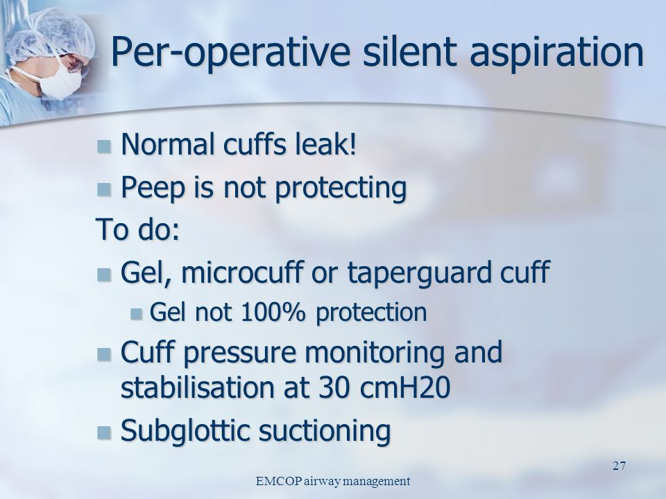 Per-operative silent aspiration