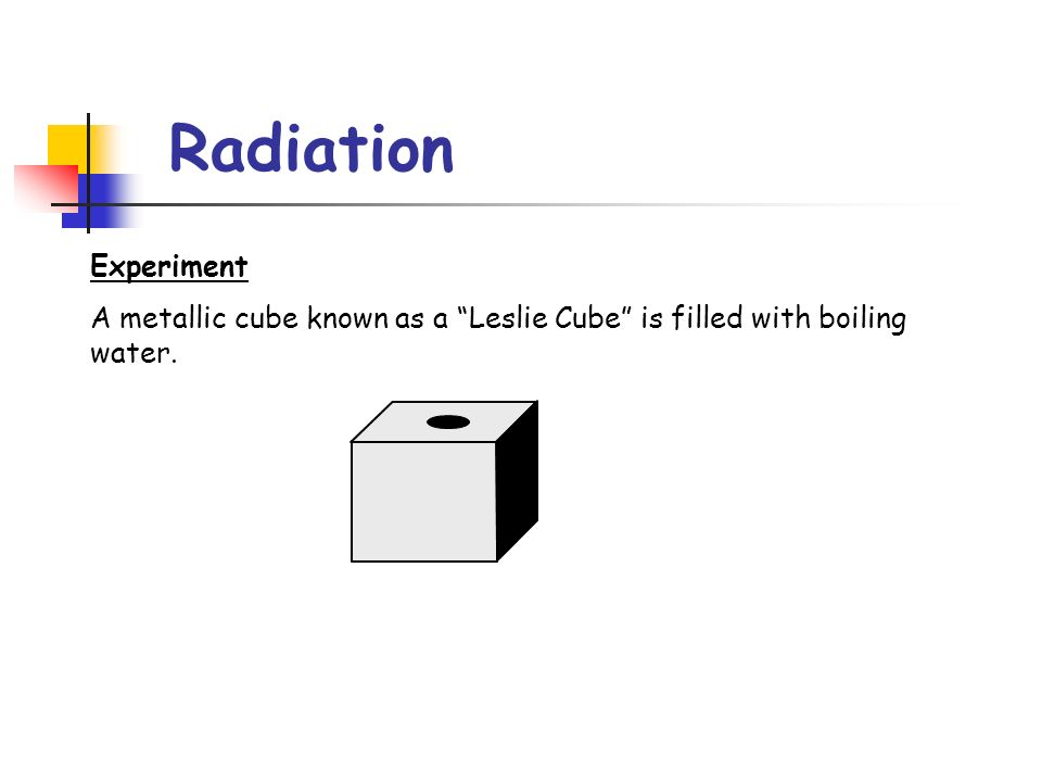 Radiation Experiment A metallic cube known as a Leslie Cube is filled with boiling water.