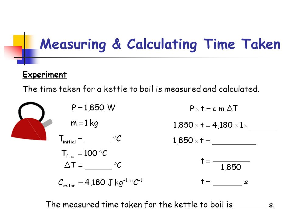 Measuring & Calculating Time Taken