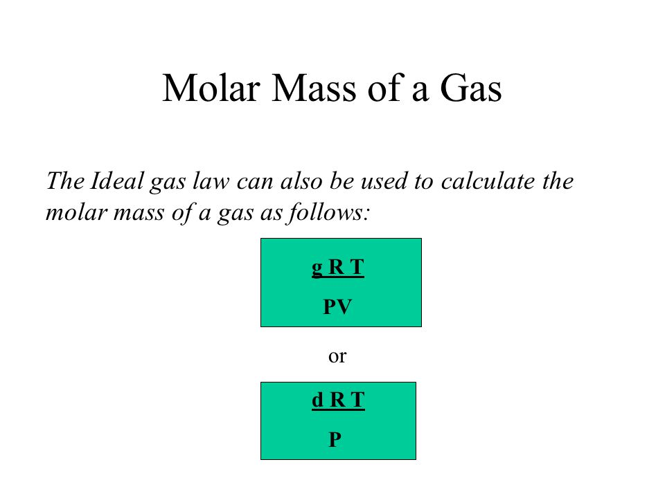 Molar Mass of a Gas The Ideal gas law can also be used to calculate the molar mass of a gas as follows: