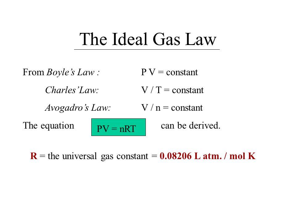 The Ideal Gas Law From Boyle's Law : P V = constant