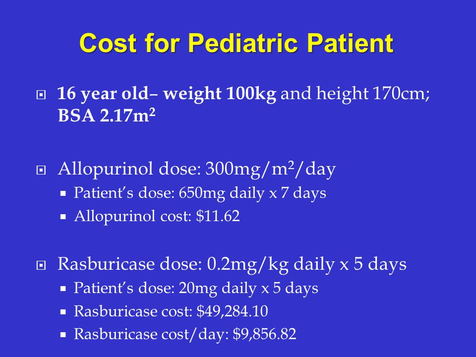 Cost for Pediatric Patient