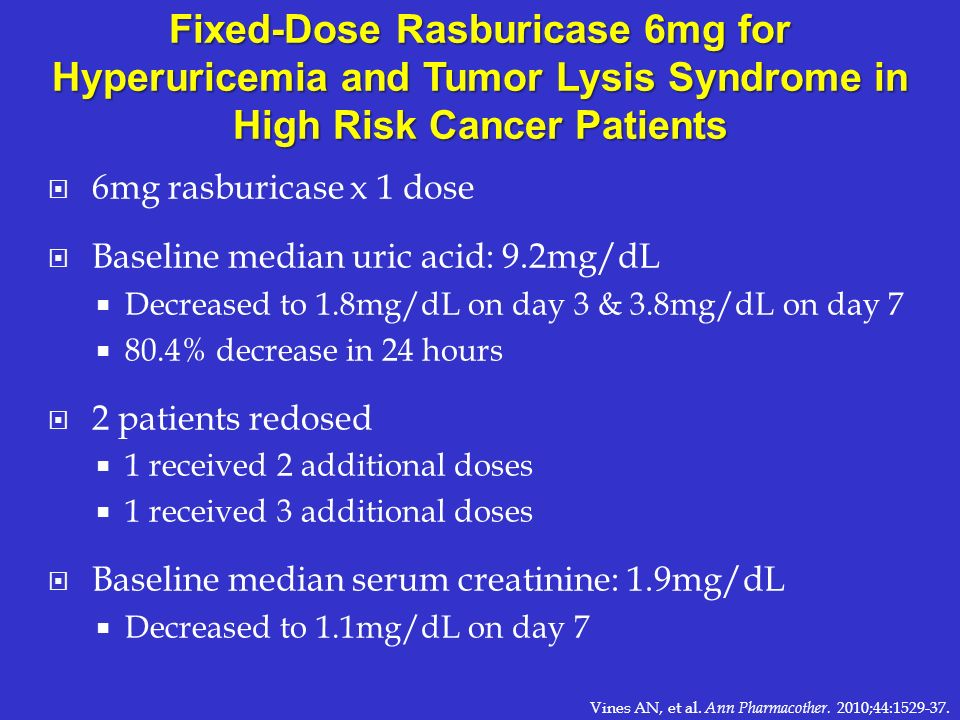 Fixed-Dose Rasburicase 6mg for Hyperuricemia and Tumor Lysis Syndrome in High Risk Cancer Patients