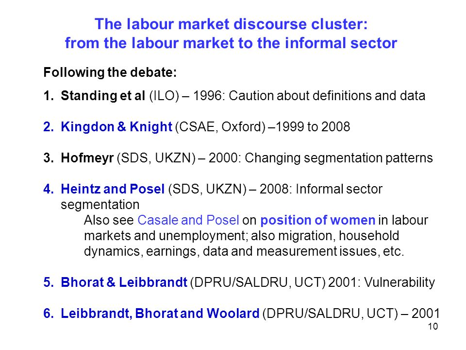 The labour market discourse cluster: from the labour market to the informal sector