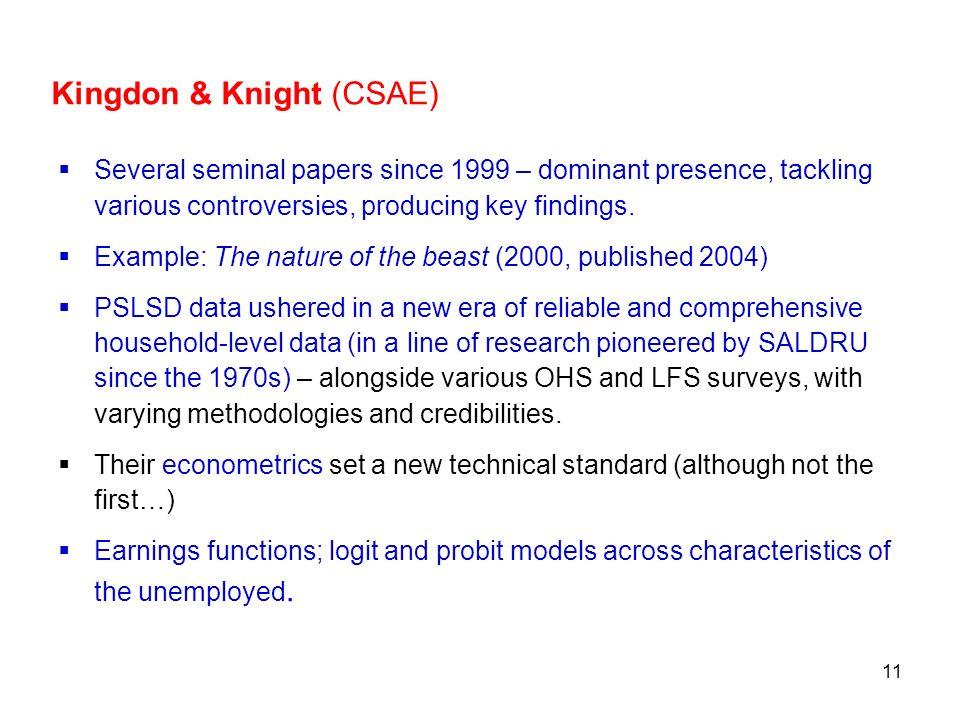 Kingdon & Knight (CSAE)