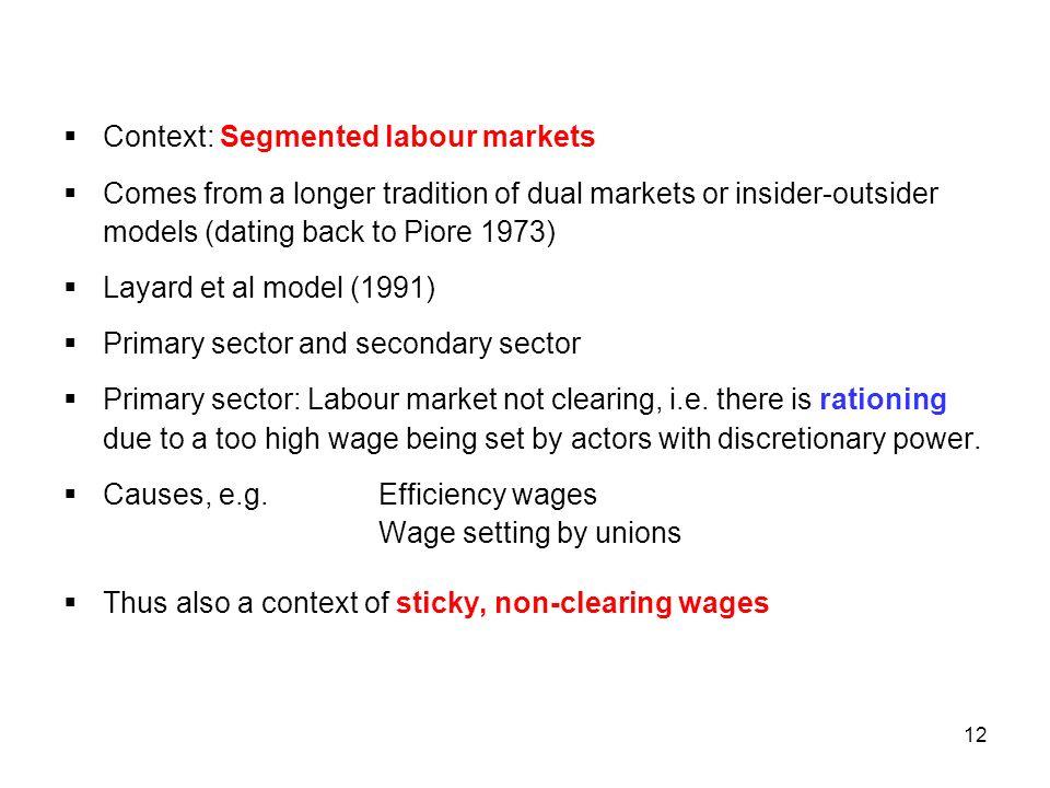 Context: Segmented labour markets