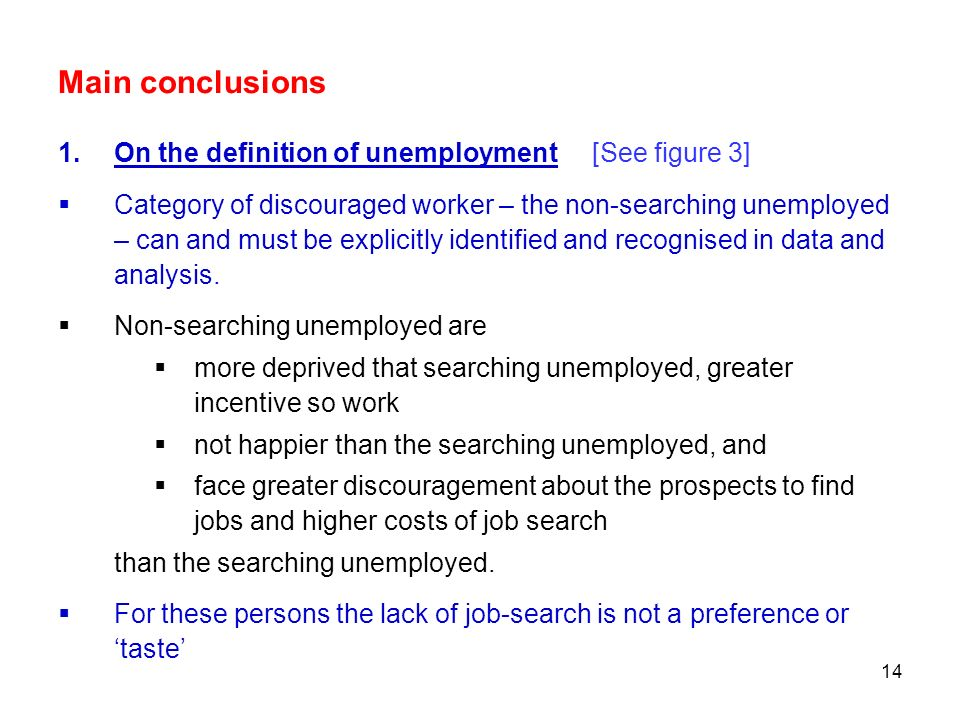 Main conclusions On the definition of unemployment [See figure 3]