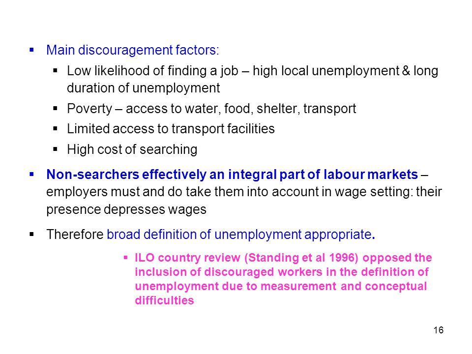 Main discouragement factors: