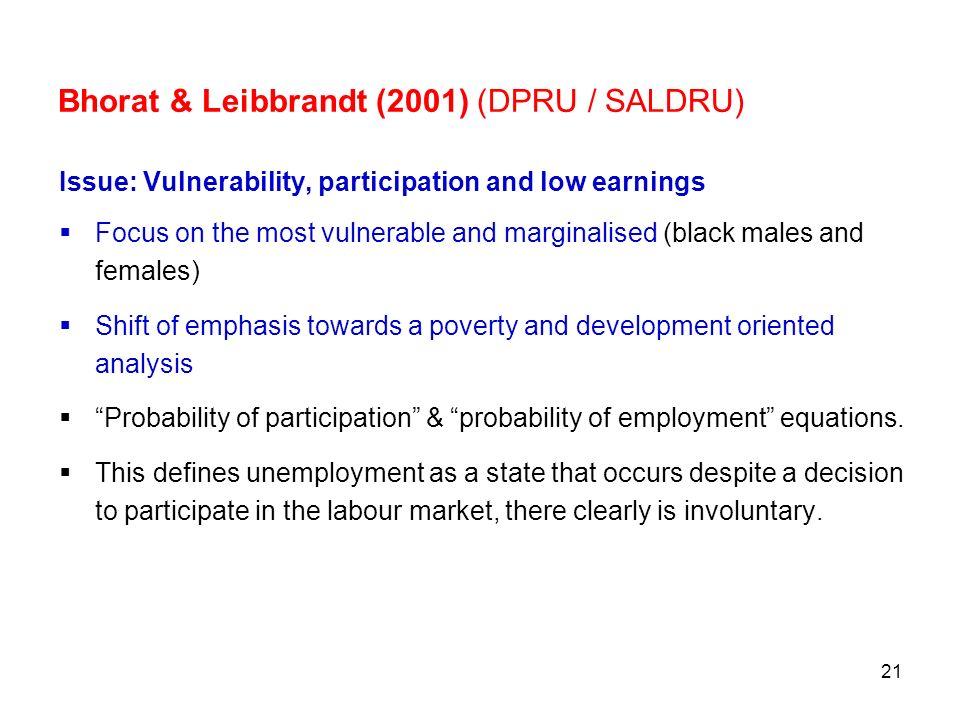 Bhorat & Leibbrandt (2001) (DPRU / SALDRU)