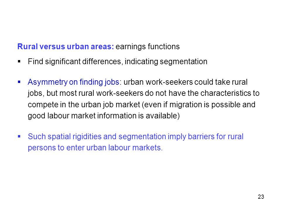 Rural versus urban areas: earnings functions