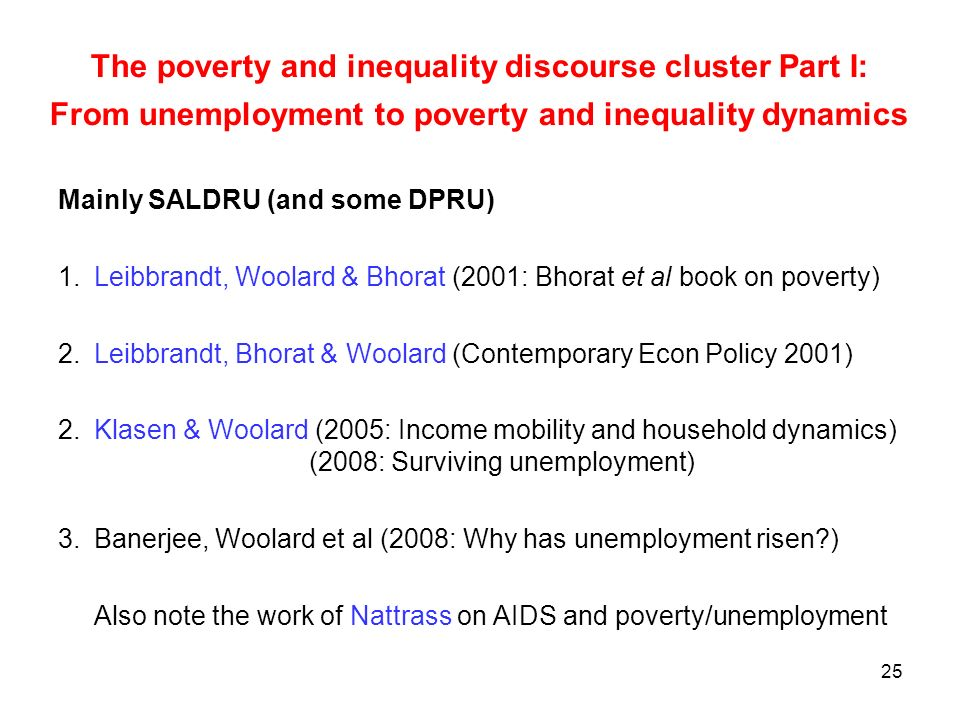 The poverty and inequality discourse cluster Part I: From unemployment to poverty and inequality dynamics