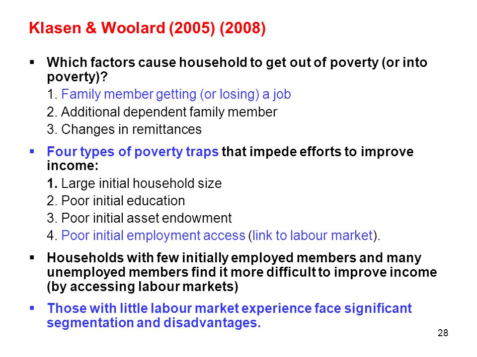 Klasen & Woolard (2005) (2008) Which factors cause household to get out of poverty (or into poverty)
