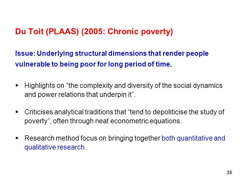 Du Toit (PLAAS) (2005: Chronic poverty)