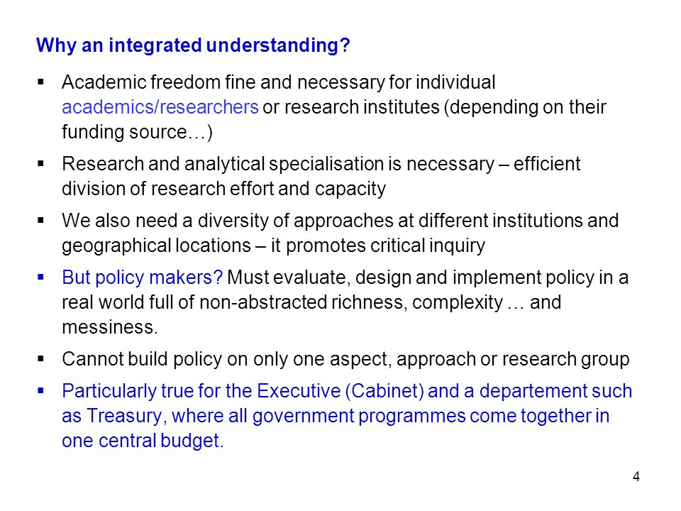 Why an integrated understanding