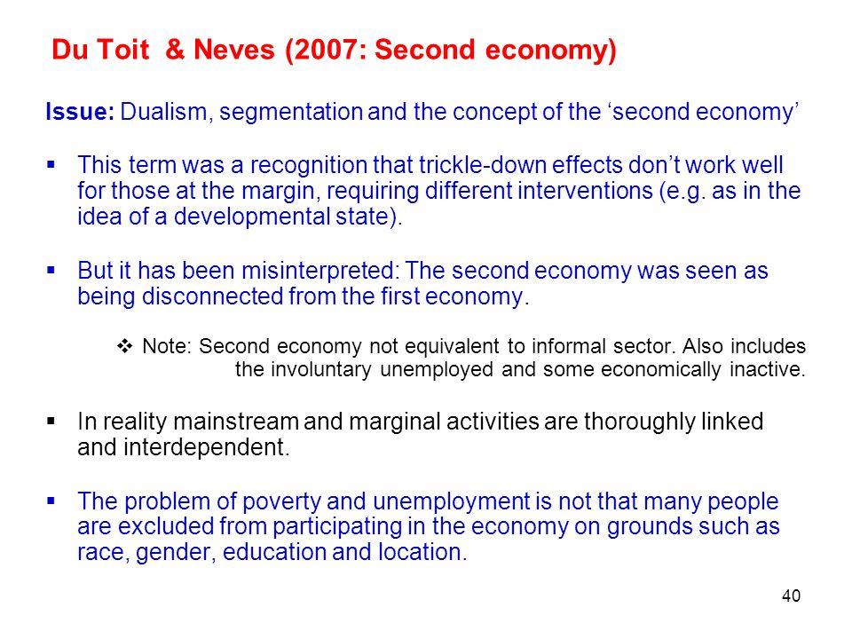 Du Toit & Neves (2007: Second economy)