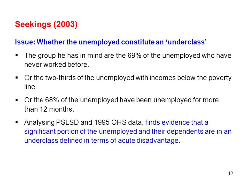 Seekings (2003) Issue: Whether the unemployed constitute an 'underclass'