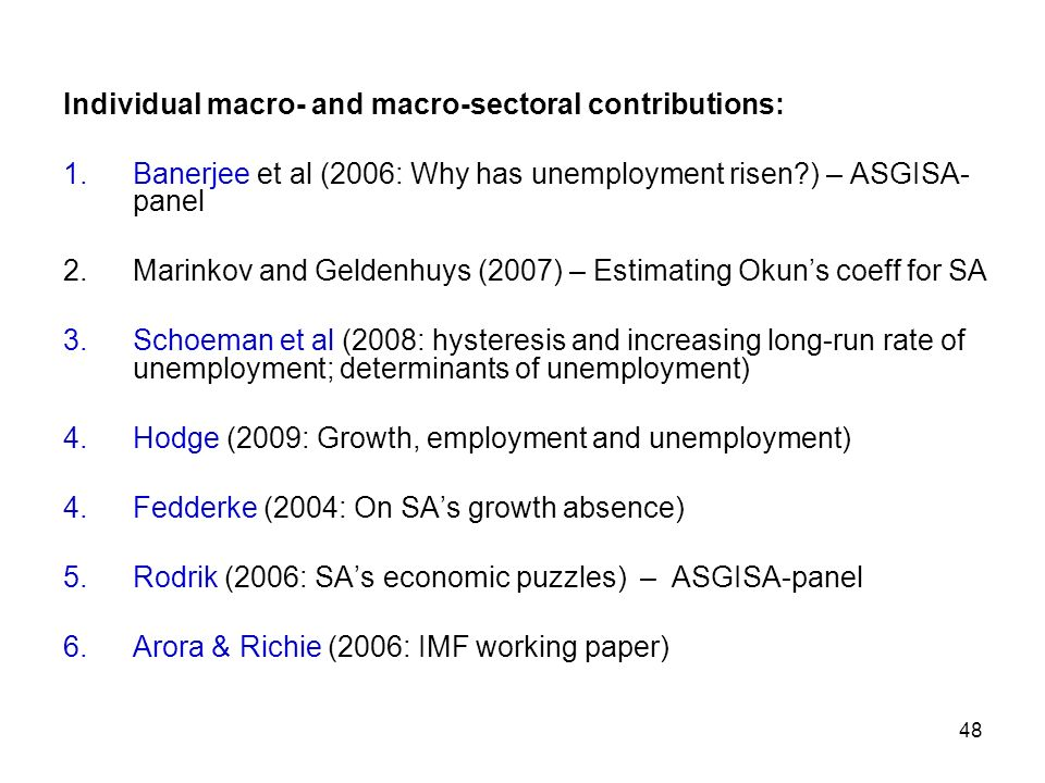 Individual macro- and macro-sectoral contributions: