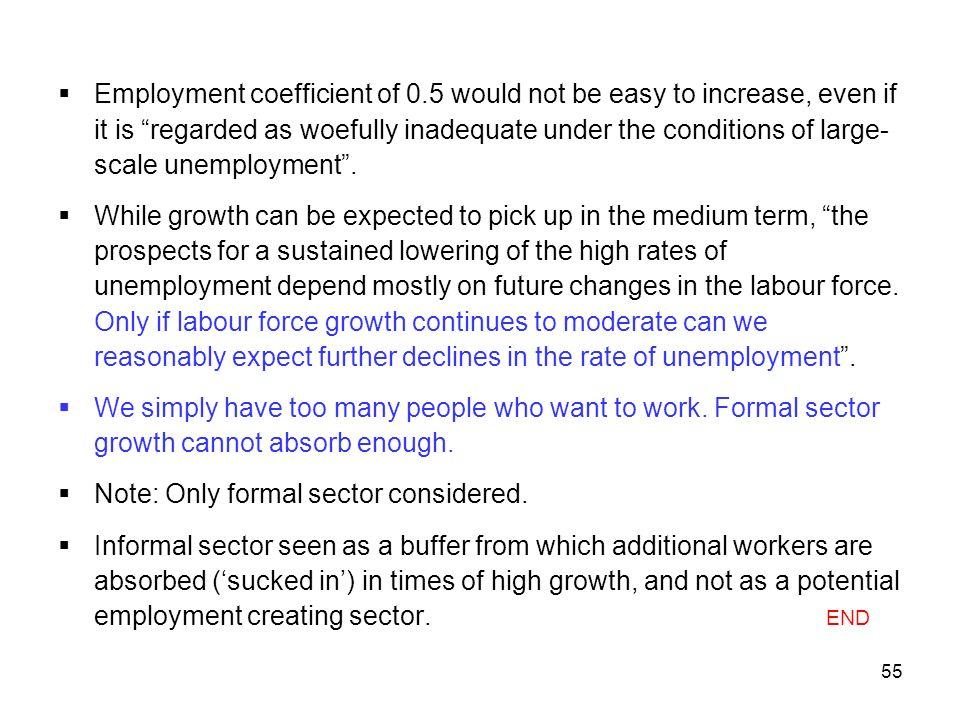 Employment coefficient of 0