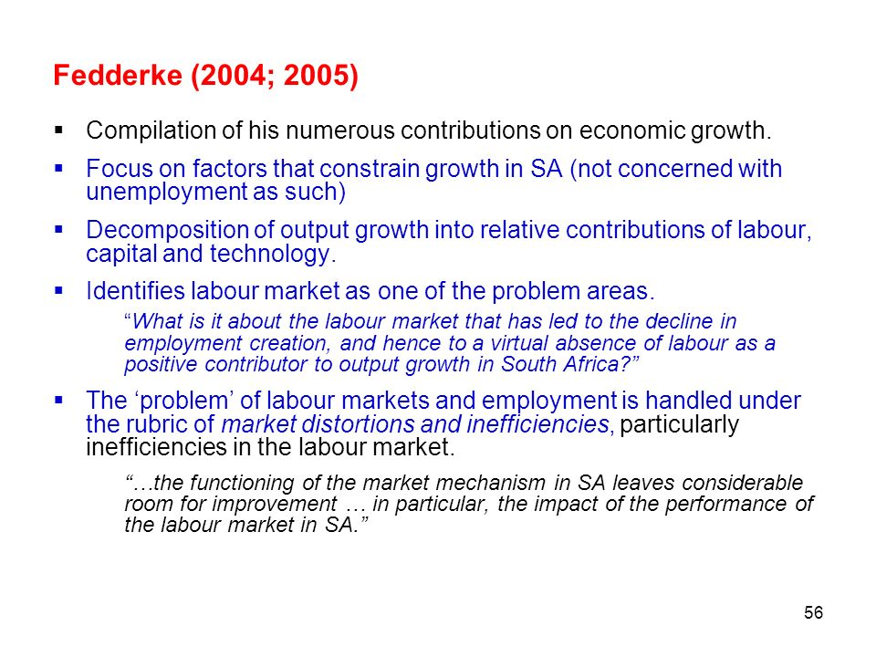 Fedderke (2004; 2005) Compilation of his numerous contributions on economic growth.