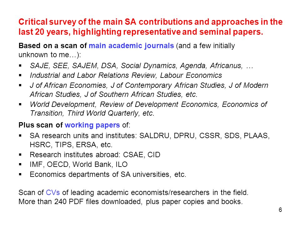 Critical survey of the main SA contributions and approaches in the