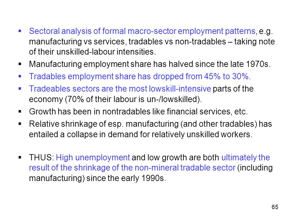 Sectoral analysis of formal macro-sector employment patterns, e. g