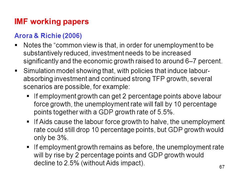 IMF working papers Arora & Richie (2006)