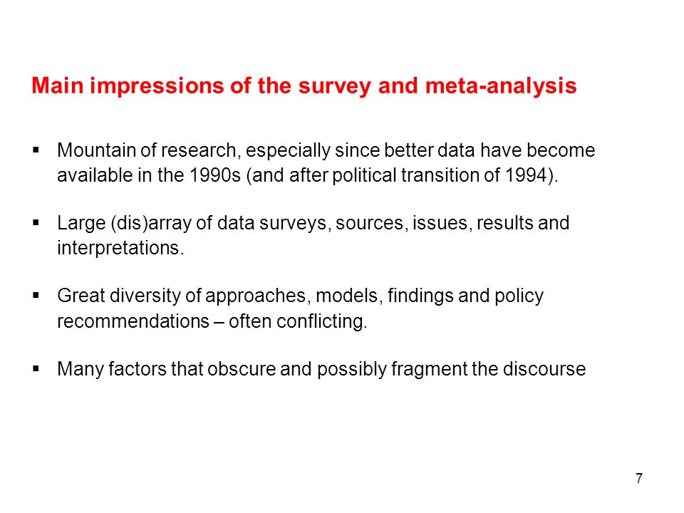 Main impressions of the survey and meta-analysis