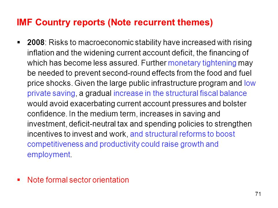 IMF Country reports (Note recurrent themes)