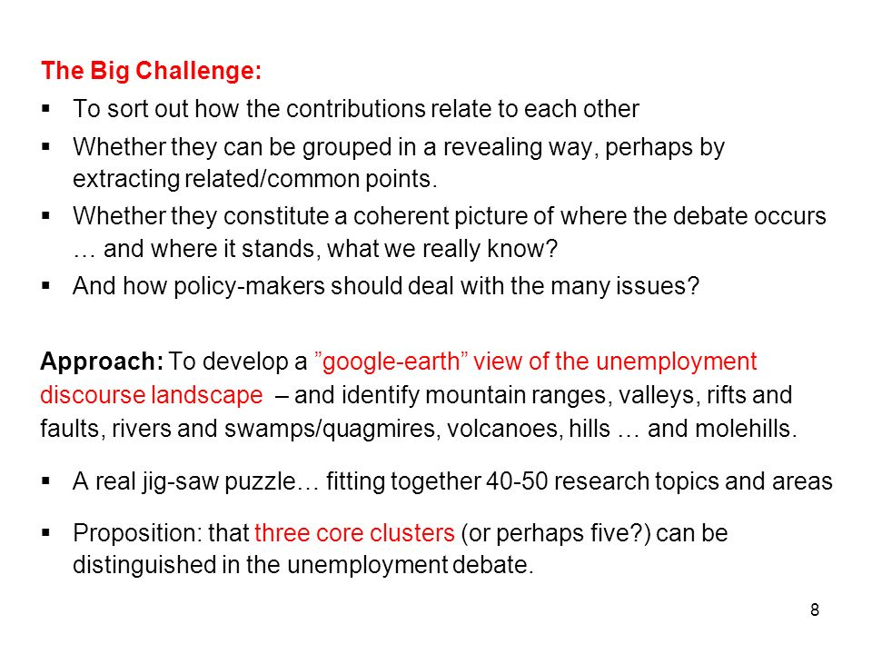 The Big Challenge: To sort out how the contributions relate to each other.