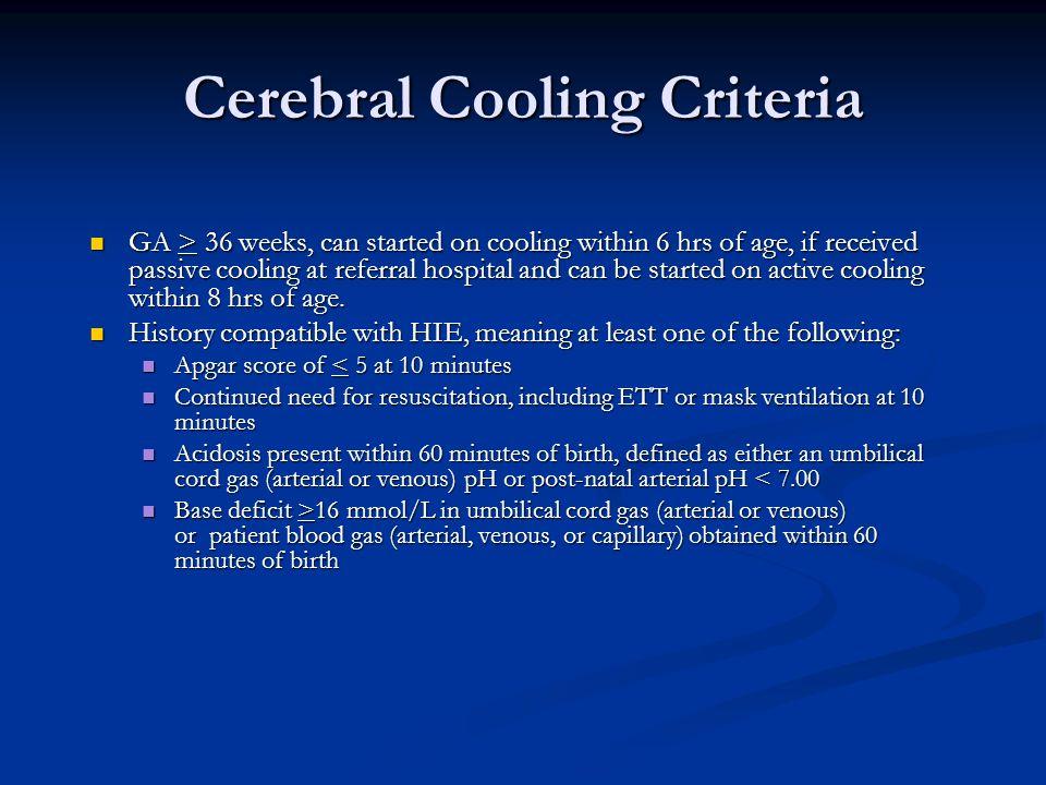 Cerebral Cooling Criteria