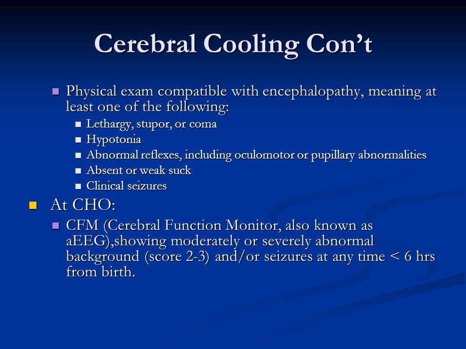 Cerebral Cooling Con't