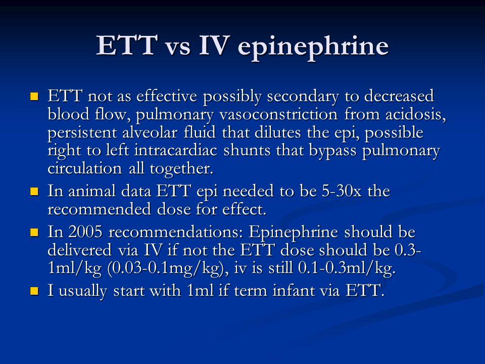 ETT vs IV epinephrine