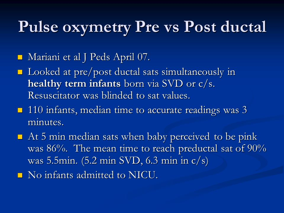 Pulse oxymetry Pre vs Post ductal
