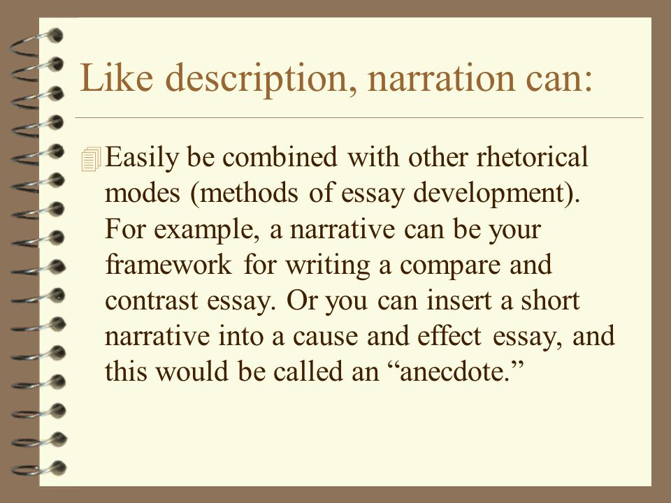 a narrative and descriptive m m essay A narrative or story is a report of connected events  descriptive rather than analytical the fiction of narrative: essays on history, literature.