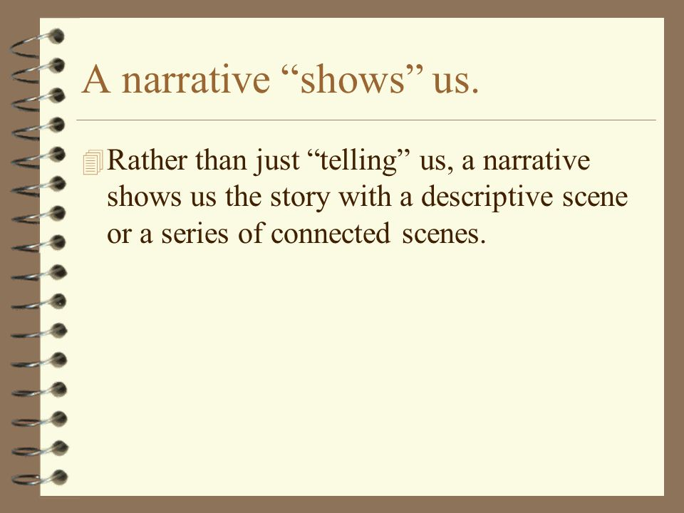 A narrative shows us.