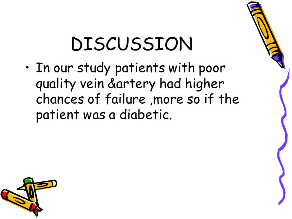 DISCUSSION In our study patients with poor quality vein &artery had higher chances of failure ,more so if the patient was a diabetic.