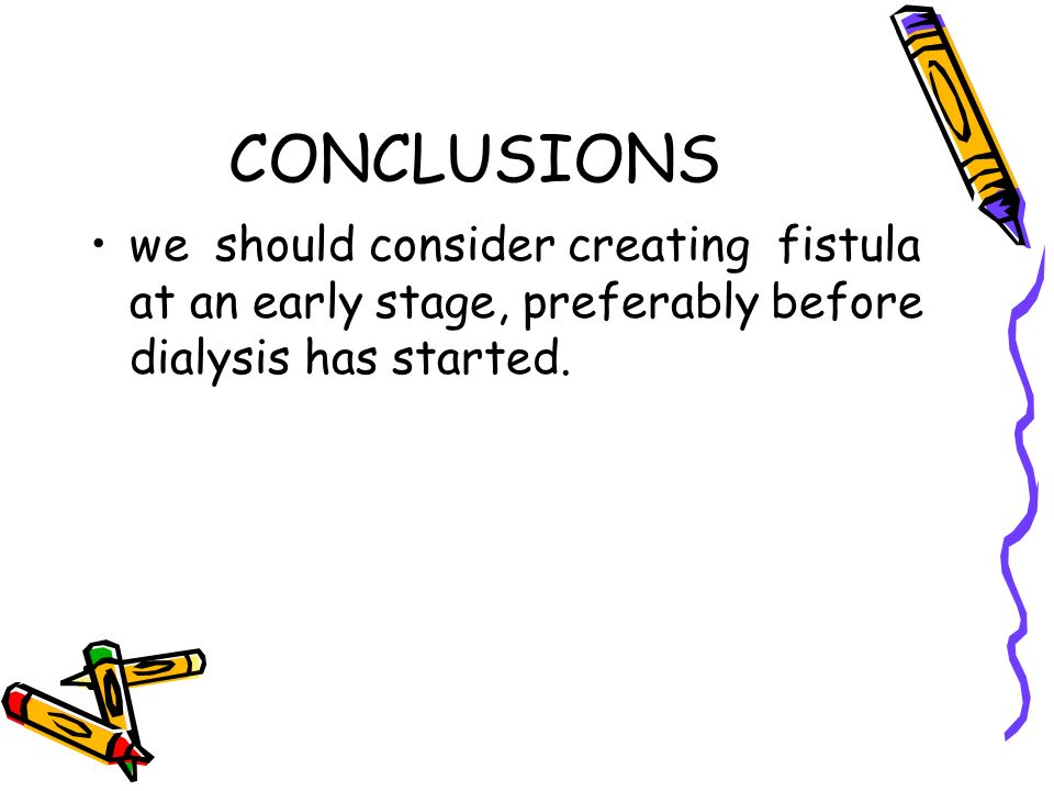 CONCLUSIONS we should consider creating fistula at an early stage, preferably before dialysis has started.