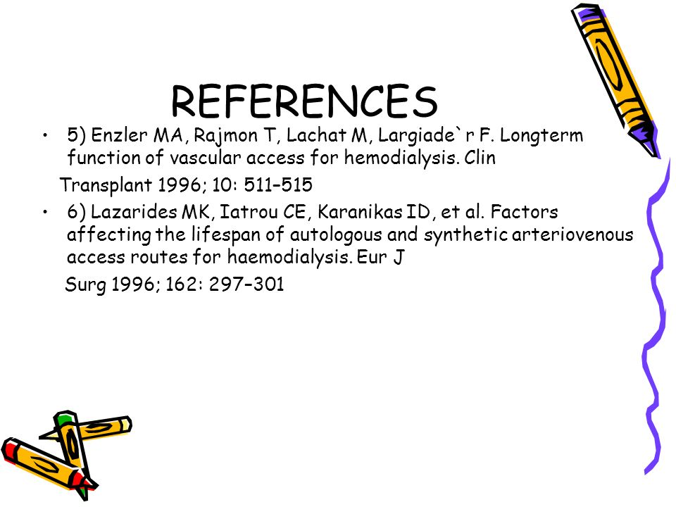 REFERENCES 5) Enzler MA, Rajmon T, Lachat M, Largiade`r F. Longterm function of vascular access for hemodialysis. Clin.