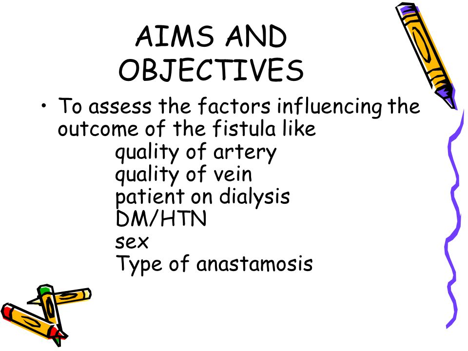 AIMS AND OBJECTIVES To assess the factors influencing the outcome of the fistula like. quality of artery.