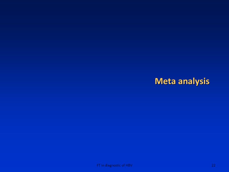 Meta analysis FT in diagnostic of HBV